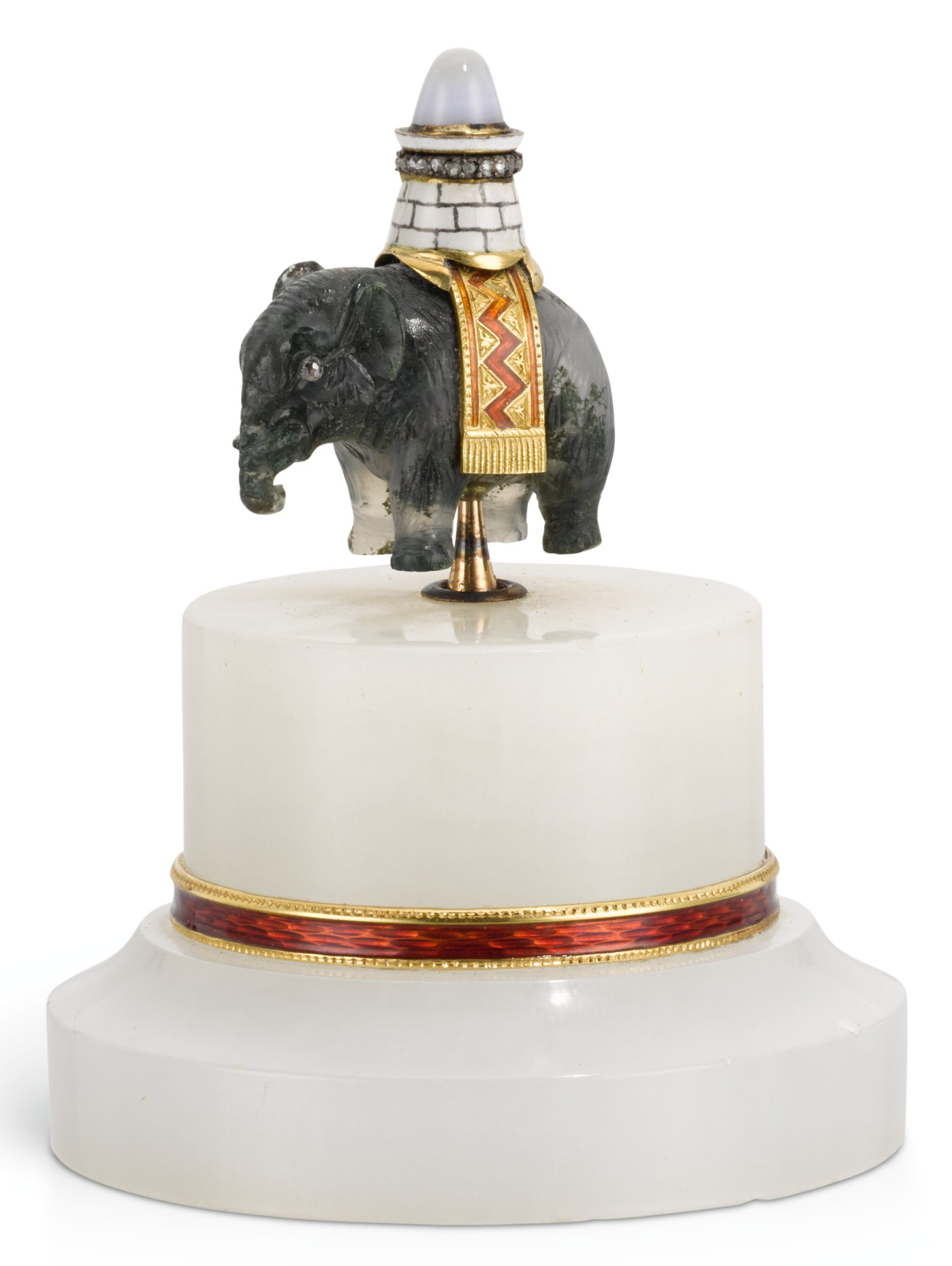 A RARE FABERGÉ JEWELLED GOLD-MOUNTED AND GUILLOCHÉ ENAMEL HARDSTONE BELLPUSH, WORKMASTER MICHAEL PERCHIN, ST PETERSBURG, 1899-1903
