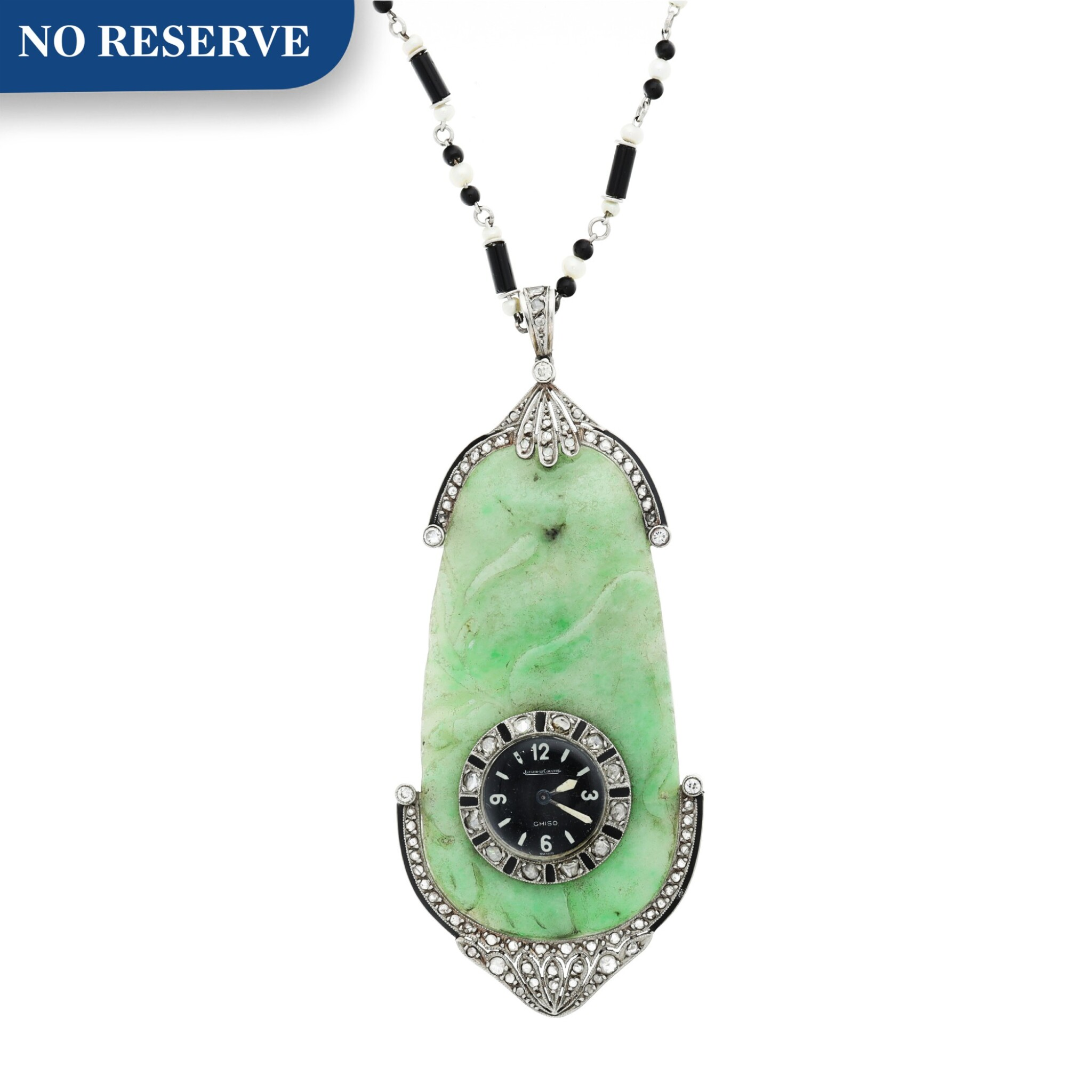 View full screen - View 1 of Lot 239. RETAILED BY GHISO: A JADE, PLATINUM, DIAMOND, AND ENAMEL PENDANT WATCH, CIRCA 1925.