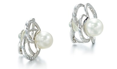 View 2. Thumbnail of Lot 9102. PAIR OF CULTURED PEARL AND DIAMOND EAR CLIPS, CHANEL | 養殖珍珠 配 鑽石 耳環一對, 香奈兒 ( Chanel ).