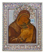 An Impressive and large silver and cloisonné enamel icon of the Vladimirskaya Mother of God, Vasily Salamatin, Moscow, 1899-1908
