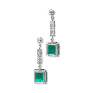 View 3. Thumbnail of Lot 1169. Pair of emerald and diamond pendent earrings.