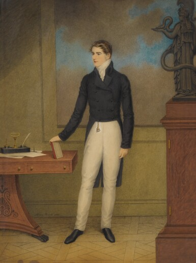 View 2. Thumbnail of Lot 164. Portrait of a Young Man, Standing by a Desk in an Interior.