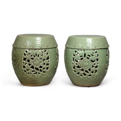 View 4. Thumbnail of Lot 90. A pair of pierced and carved 'Longquan' celadon-glazed garden seats, Ming dynasty | 明 龍泉窰青釉開光鏤空花卉紋坐墩一對.