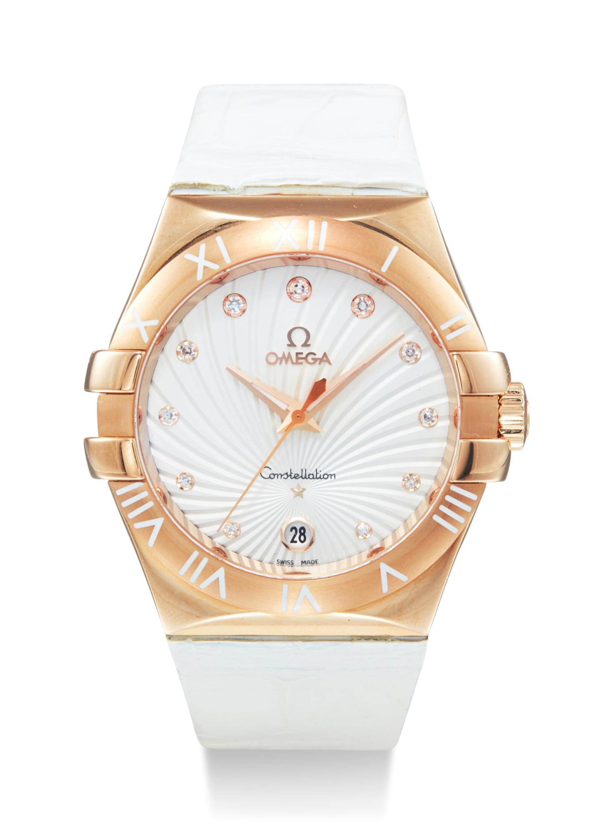 View full screen - View 1 of Lot 8009. OMEGA   CONSTELLATION, REFERENCE 123.53.35.60.52.001,  A PINK GOLD AND DIAMOND-SET WRISTWATCH WITH DATE, CIRCA 2014.