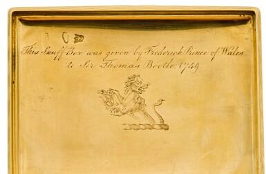 View 3. Thumbnail of Lot 69. A GOLD ROYAL PRESENTATION SNUFF BOX, JEAN DUCROLLAY, PARIS, 1739.