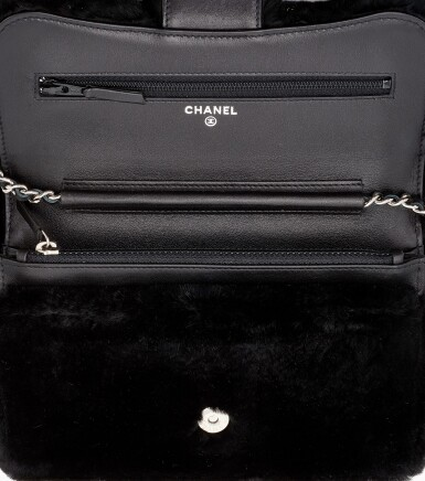 BLACK LAPIN FUR AND LEATHER WITH SILVER-TONE METAL WALLET ON CHAIN, CHANEL
