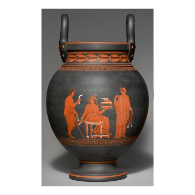 A WEDGWOOD BLACK BASALT 'ENCAUSTIC'-DECORATED TWO-HANDLED VASE, COVER AND PIERCED COVER LATE 18TH CENTURY