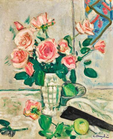 GEORGE LESLIE HUNTER |  PINK ROSES (RECTO); STILL LIFE OF ROSES IN A BLUE VASE (VERSO)