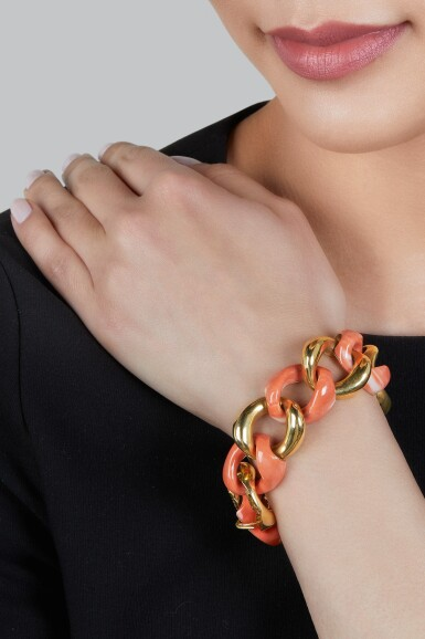 View 2. Thumbnail of Lot 145. Seaman Schepps | Gold and Coral Bracelet.