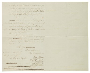 View 2. Thumbnail of Lot 166. BENJAMIN FRANKLIN, JOHN ADAMS, AND THOMAS JEFFERSON   The American ministers plenipotentiary charged with negotiating treaties of amity and commerce with European nations approach the King of the Two Sicilies .