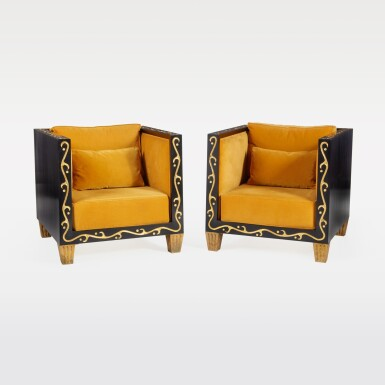 View 1. Thumbnail of Lot 130. Unique Pair of Club Chairs.