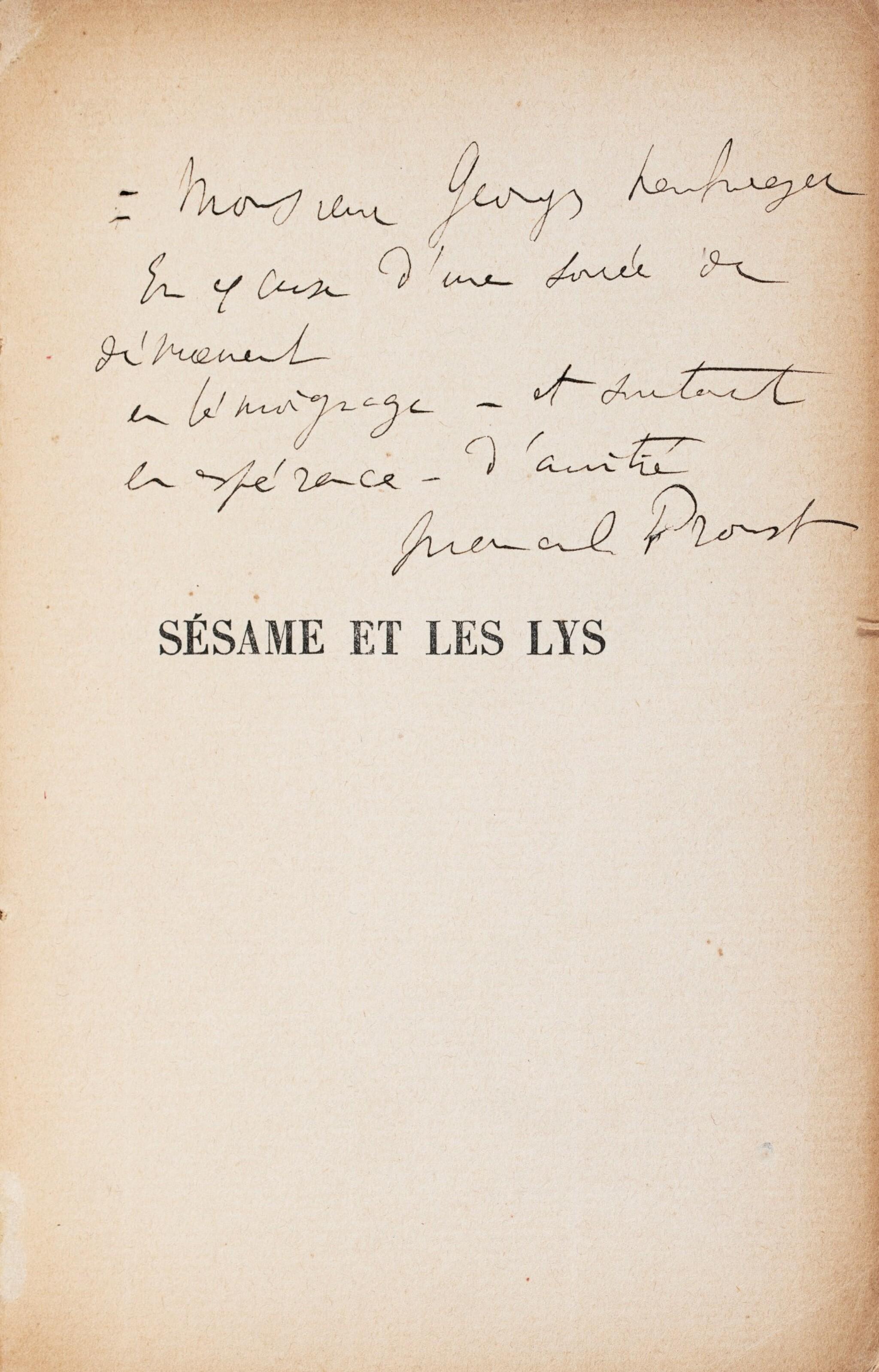 View full screen - View 1 of Lot 173. La Bible d'Amiens. [Et :] Sésame et les Lys. Les deux exemplaires avec un envoi a.s..