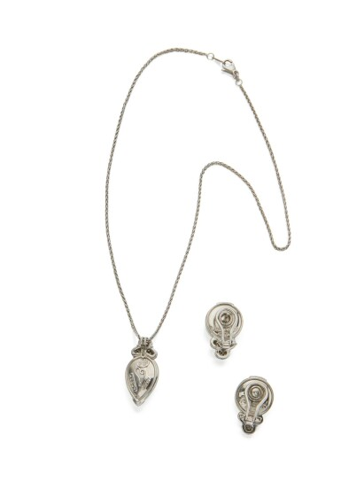 CAT'S-EYE MOONSTONE AND DIAMOND PENDANT-NECKLACE AND PAIR OF EARCLIPS, HENRY DUNAY