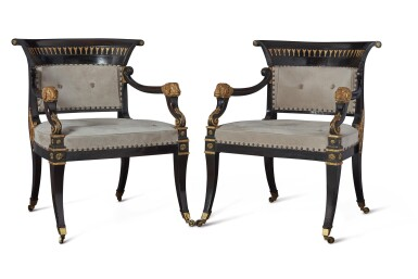 A PAIR OF REGENCY EBONIZED AND PARCEL-GILT ARMCHAIRS ATTRIBUTED TO MOREL AND HUGHES, CIRCA 1815