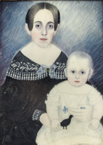 ATTRIBUTED TO MOSES B. RUSSELL | MINIATURE PORTRAIT OF ELIZA CAROLINA RICE BLAKE AND CHILD