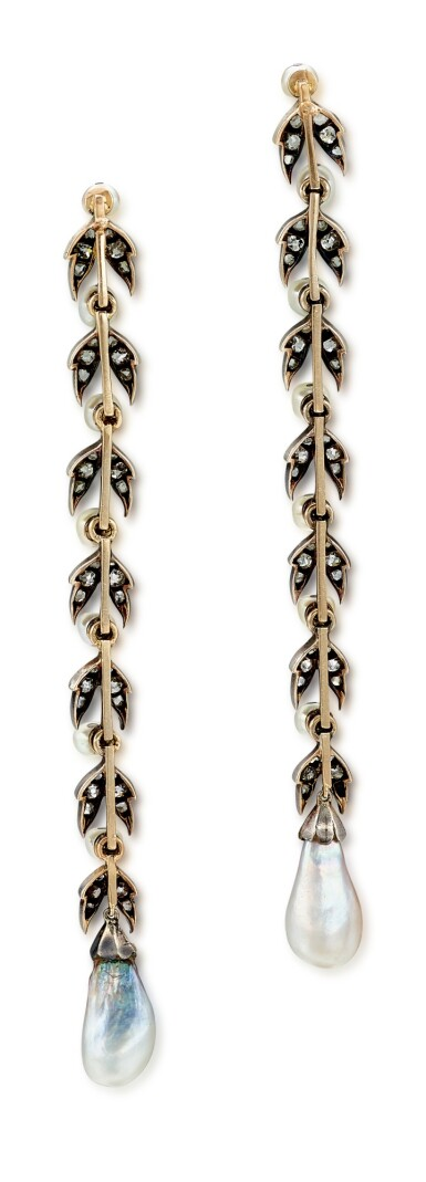 View 4. Thumbnail of Lot 9015. Natural Pearl and Diamond Earrings, 19th Century |  天然海水珍珠 配 鑽石 耳墜一對, 19世紀.