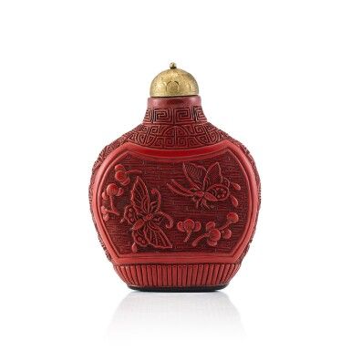 View 1. Thumbnail of Lot 3007. A Carved Cinnabar Lacquer 'Flowers and Butterflies' Snuff Bottle Qing Dynasty, 18th - 19th Century | 清十八至十九世紀 剔紅蝶戀花鼻煙壺.