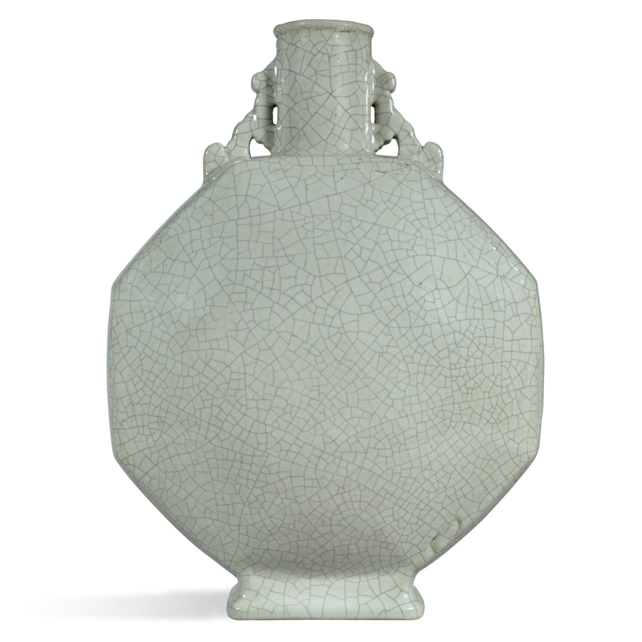 View full screen - View 1 of Lot 182. A RARE LARGE GE-TYPE MOONFLASK, YONGZHENG SEAL MARK AND PERIOD    清雍正 仿哥釉八方雙耳抱月瓶 《大清雍正年製》款.