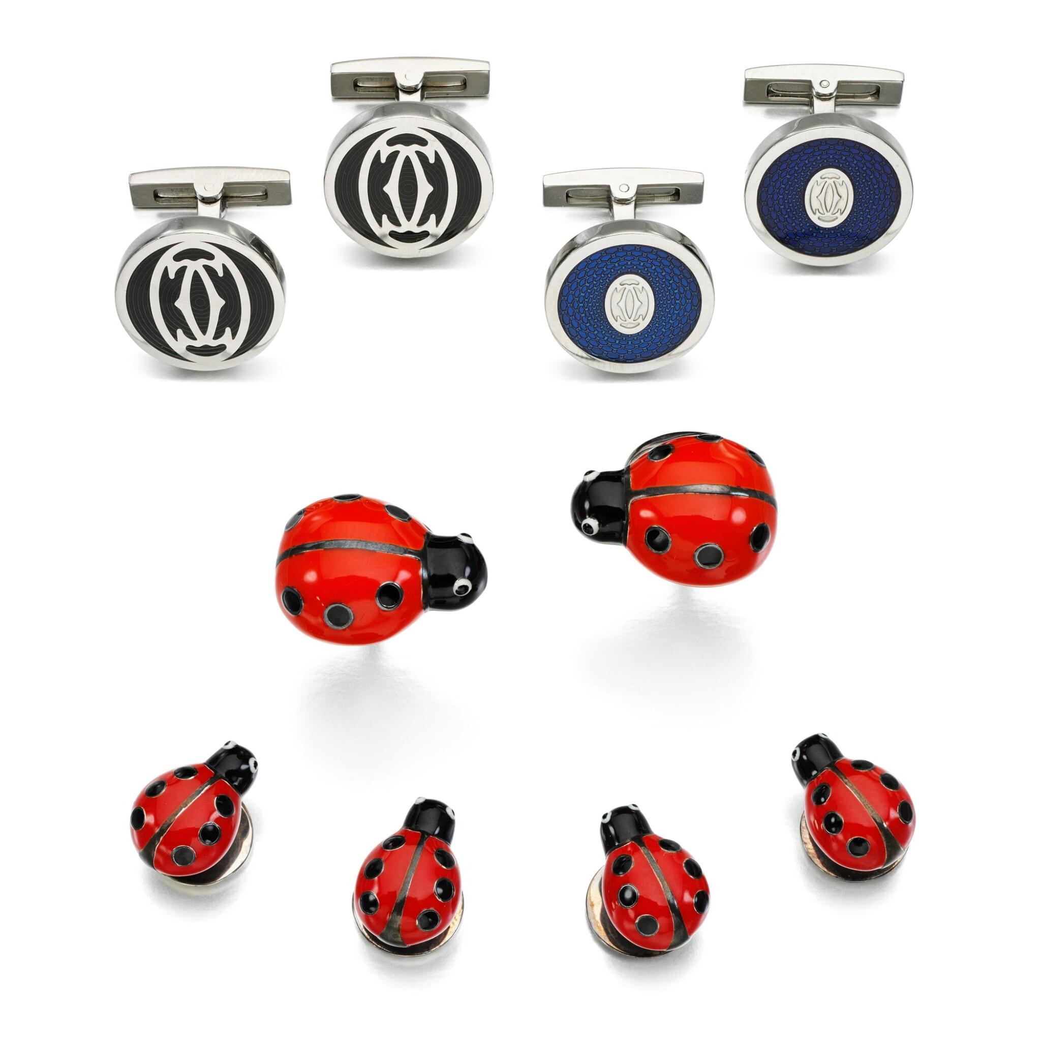 View full screen - View 1 of Lot 103. Cartier | Two pairs of enamel cufflinks || Deakin & Francis | Enamel dress-set.