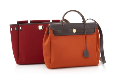Red and orange canvas and brown leather tote with yellow hardware, 2 in 1 Herbag, Hermès, 2004