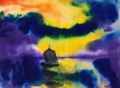 View 1. Thumbnail of Lot 109. Meer mit Abendhimmel und Segelboot (Sea with Evening Sky and Sailing Boat) | 《黃昏天空下的海和船》.