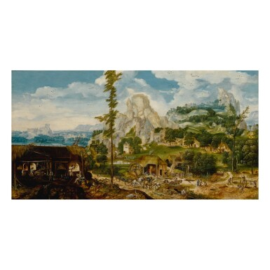 View 1. Thumbnail of Lot 17. An extensive mountainous landscape with a metal foundry, showing various stages of the production of iron and steel.