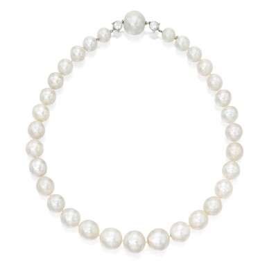 View 1. Thumbnail of Lot 211. Cartier [卡地亞]   A Rare Natural Pearl and Diamond Necklace [罕有天然珍珠配鑽石項鏈].