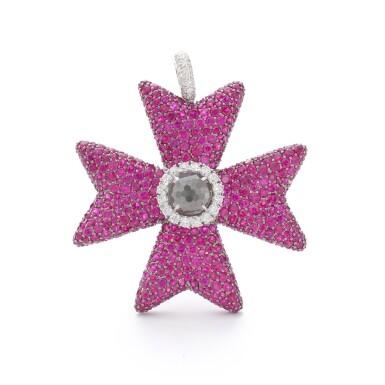 View 1. Thumbnail of Lot 12. MICHELE DELLA VALLE | RUBY AND DIAMOND PENDANT.