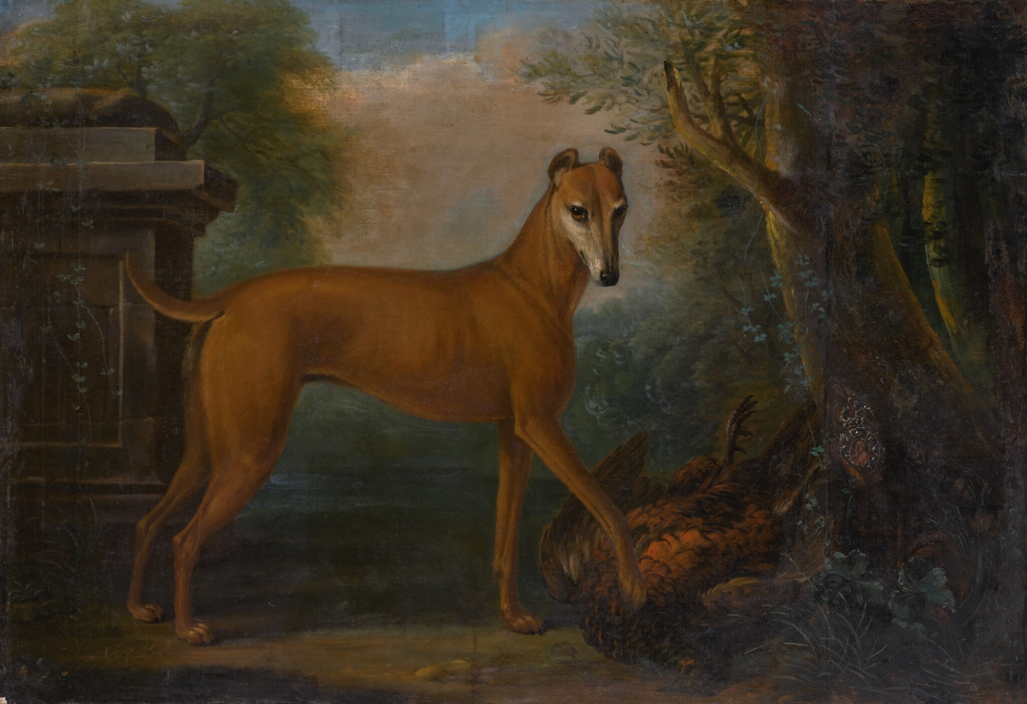 View full screen - View 1 of Lot 162. JOHN WOOTTON   A whippet in a landscape with a dead pheasant.
