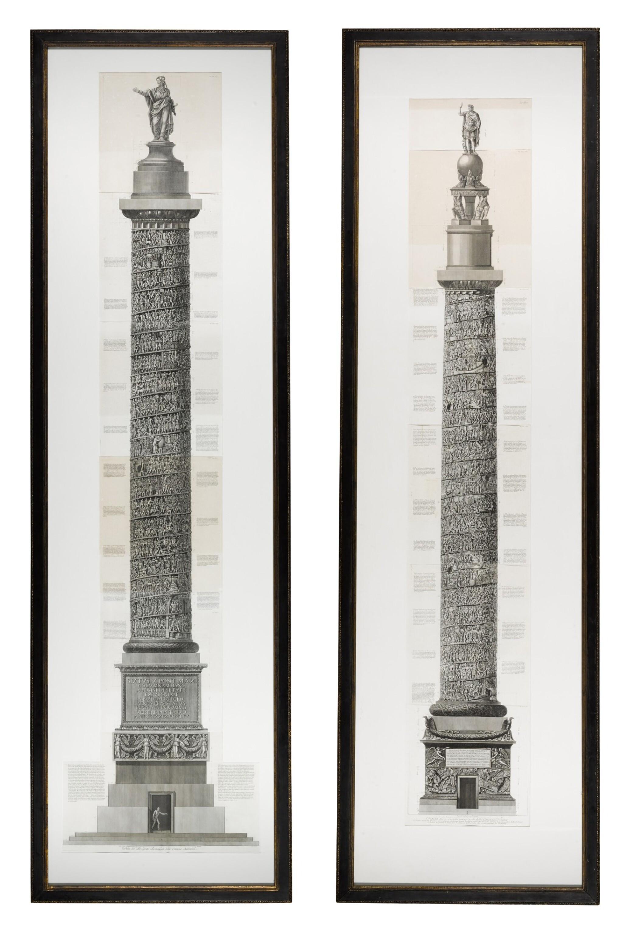 View full screen - View 1 of Lot 69. Francesco Piranesi (1756-1810), Two etchings of Roman columns, late 18th century.