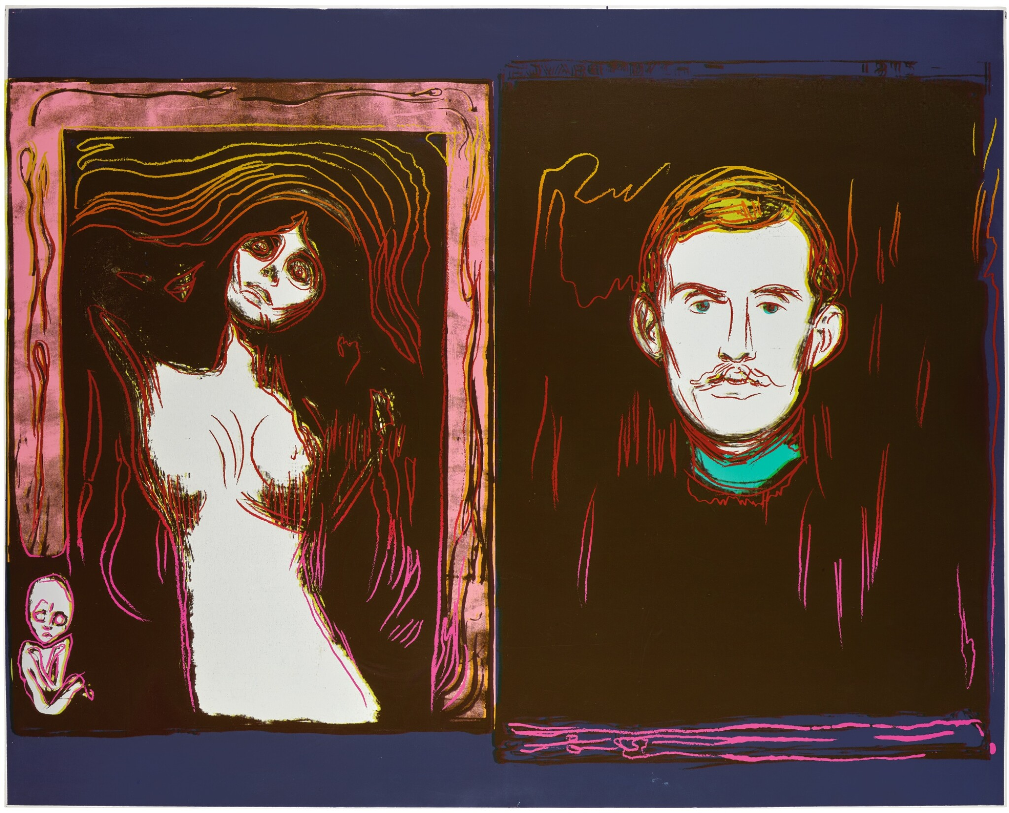 View full screen - View 1 of Lot 180. ANDY WARHOL | MADONNA AND SELF-PORTRAIT WITH SKELETON'S ARM (AFTER MUNCH) (SEE F. & S. IIIA.62).