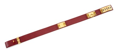 Red leather and gold plated hardware belt, Collier de chien 75, Hermès, 1990