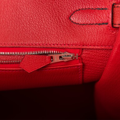 View 9. Thumbnail of Lot 43. HERMÈS   HORSESHOE STAMPED (HSS) BICOLOR BLACK AND VERMILLION BIRKIN 35CM OF TOGO LEATHER WITH BRUSHED PALLADIUM HARDWARE.