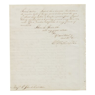 """View 2. Thumbnail of Lot 508. Washington, George 
