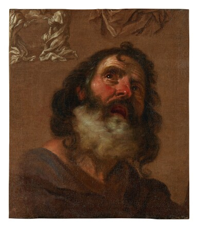 View 1. Thumbnail of Lot 74. GIACINTO BRANDI   HEAD OF A BEARDED MAN, WITH COMPOSITIONAL STUDIES EN GRISAILLE.