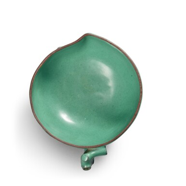 View 6. Thumbnail of Lot 26. A Yixing turquoise-enameled 'peach' cup, 19th / 20th century.