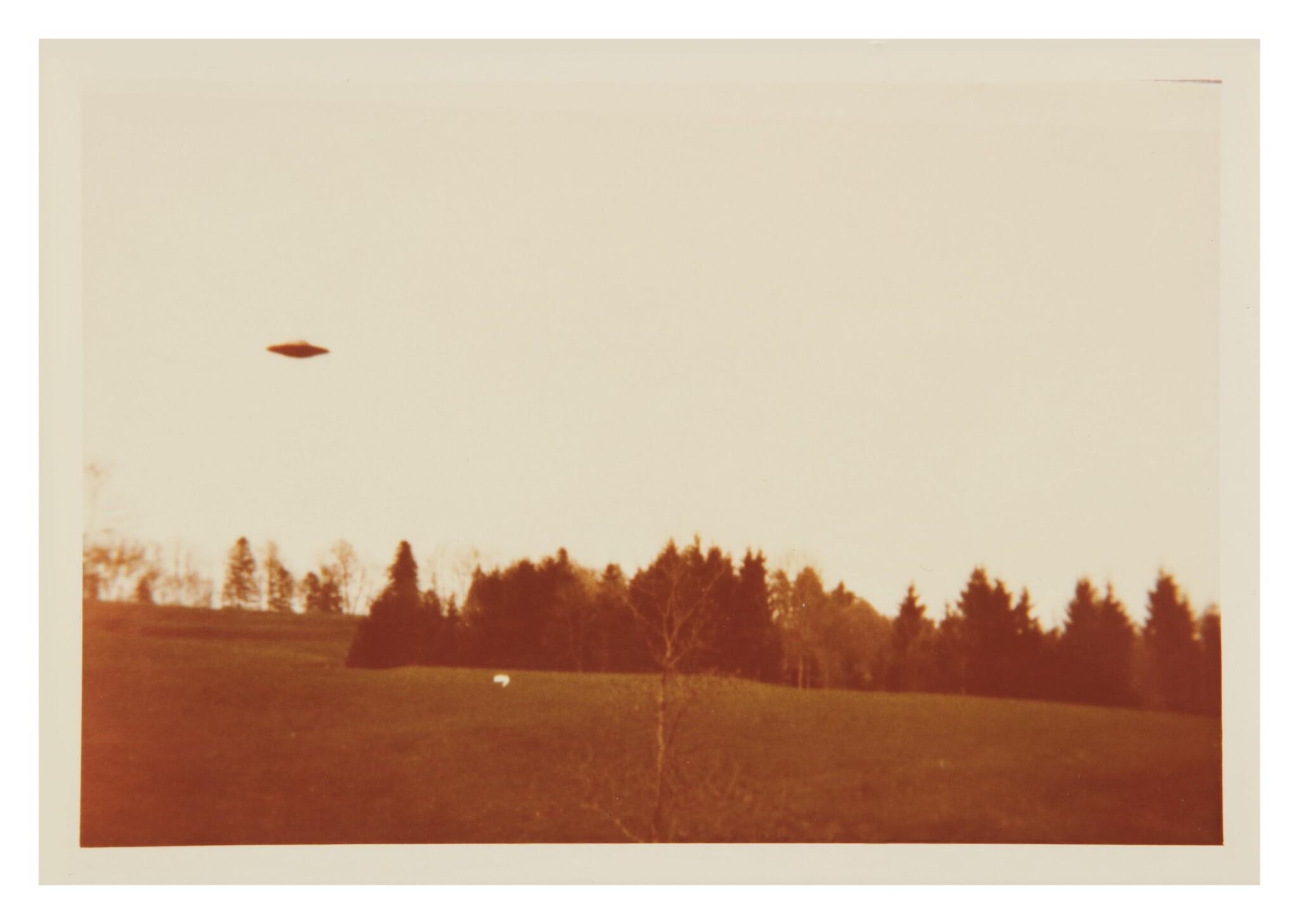 "View full screen - View 1 of Lot 215. UFO SIGHTING. 4 VINTAGE PHOTOS TAKEN BY ""BILLY"" EDUARD ALBERT MEIER IN SWITZERLAND IN SWITZERLAND IN 1975.."