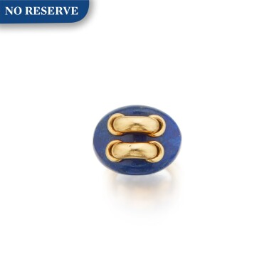 View 1. Thumbnail of Lot 368. Aldo Cipullo for Cartier   Gold and Lapis Lazuli Ring.