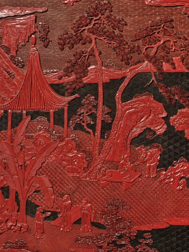 View 7. Thumbnail of Lot 63. An exceptional pair of carved three-color lacquer 'landscape' panels, Qing dynasty, Qianlong period | 清乾隆 剔彩山水高士圖掛屏一對.