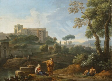 View 3. Thumbnail of Lot 161. A classical landscape with the Tomb of Cecilia Metella and figures conversing;  A classical landscape with a capriccio of the Vatican Belvedere and figures conversing in the foreground.