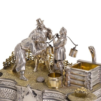 View 2. Thumbnail of Lot 206. An Impressive parcel-gilt silver figural inkwell, Ivan Khlebnikov, Moscow, 1875.