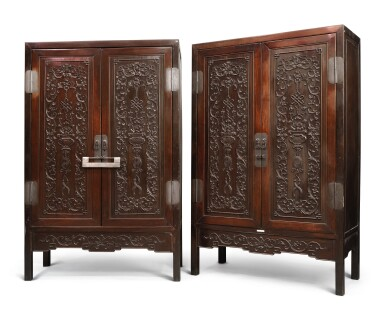 View 2. Thumbnail of Lot 1043. A PAIR OF CARVED 'HONGMU' SQUARE-CORNER CABINETS, LATE 19TH / EARLY 20TH CENTURY.