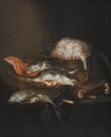 ABRAHAM HENDRICKSZ. VAN BEYEREN | STILL LIFE WITH A RAY ON A BARREL, A SALMON STEAK, A PIKE PERCH AND A COALFISH IN A BASKET, WITH FLOUNDERS, A KNIFE AND A CRAB ON A DRAPED TABLE