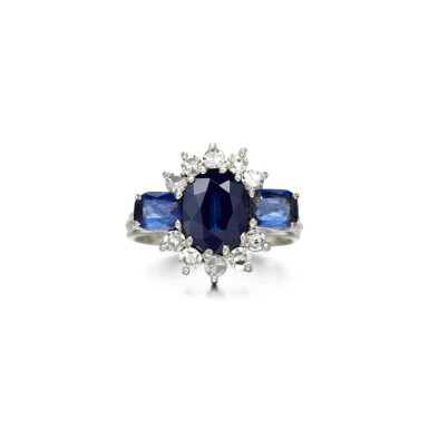 View 1. Thumbnail of Lot 74. Graff   Sapphire and diamond ring.