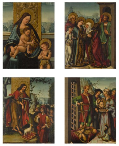 View 1. Thumbnail of Lot 26. ANTONIO VÁZQUEZ  | FOUR PANELS FROM AN ALTARPIECE WITH EPISODES FROM THE LIFE OF ST JOHN THE BAPTIST: THE VIRGIN AND CHILD WITH THE INFANT ST JOHN; THE PREACHING OF ST JOHN THE BAPTIST; THE VISITATION; SALOME WITH THE HEAD OF ST JOHN THE BAPTIST.