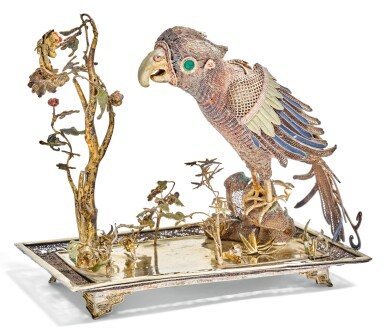 A CHINESE PARCEL-GILT SILVER AND POLYCHROME ENAMEL FILIGREE MODEL OF A PARROT, UNMARKED, PROBABLY 18TH CENTURY