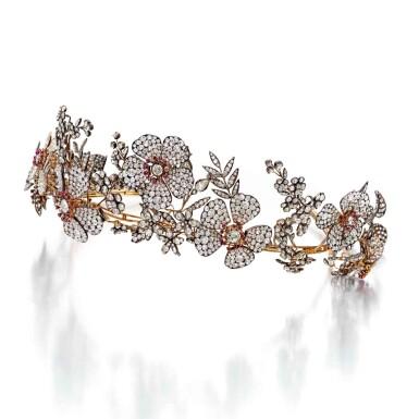 View 1. Thumbnail of Lot 212. Silver-Topped Gold, Ruby and Diamond Tiara [黃金鍍銀鑲紅寶石配鑽石皇冠].