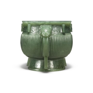 View 3. Thumbnail of Lot 85. An archaistic spinach-green jade gui-form censer, Qing dynasty.