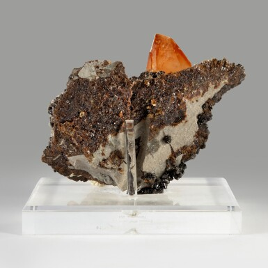 An Impressive Elmwood Calcite on Sphalerite