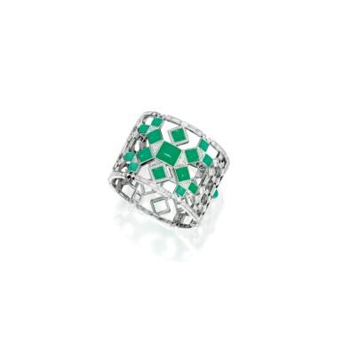 CHRYSOPRASE AND DIAMOND BRACELET, TIFFANY & CO. | 綠玉髓配鑽石手鏈,蒂芙尼
